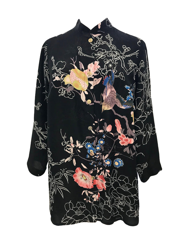 Birds In Paradise Button Front Tunic in 100% Silk