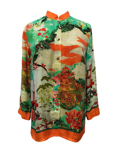 Chinese Pagoda Classic Style Blouse in Cupro
