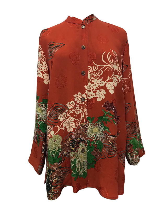 ddd866d3877 Long sleeved tunic top in red textured Rayon