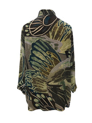 Earth Butterflies Classic Style Silk Tunic
