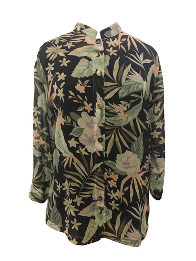 Jungle Art Citron Classic Silk Blouse
