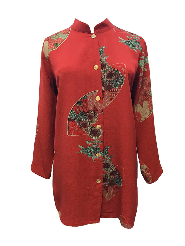 Fans And Flowers Button Front Tunic in 100% Silk