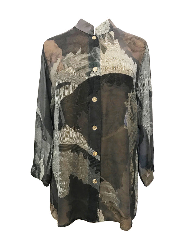 Fine Feathers Print Classic Style Silk Tunic