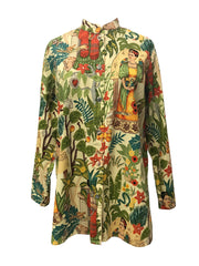 Button Down Frida Kahlo Art Blouse