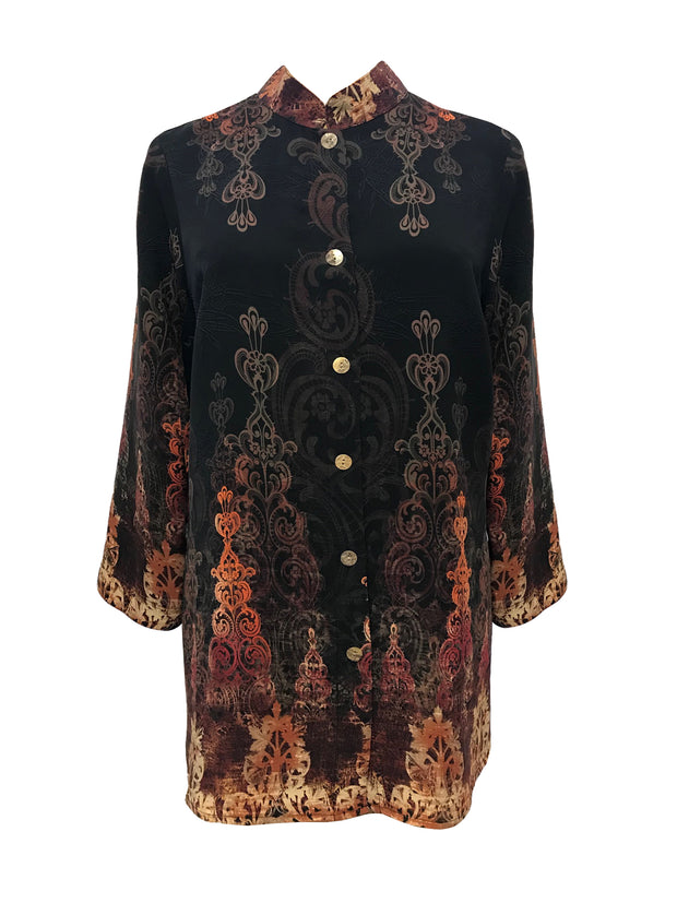 Border Pattern Classic Style Silk Blouse