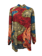 Phoenix Blue Red Classic Style Tunic