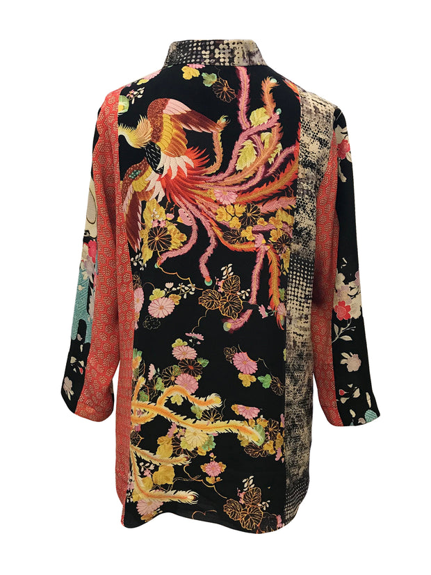 Patch Combo Button Front Tunic in 100% Silk