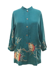 Classic Style Embroidered Silk Blouse