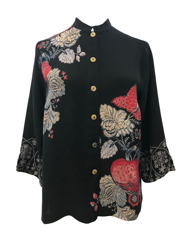 Cropped Buttondown Blouse in 100% Silk
