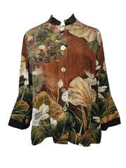 Cropped Silk Jacket with Back Pleat
