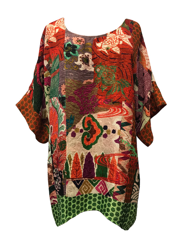 Oversized Silk Blend Crossover Tunic