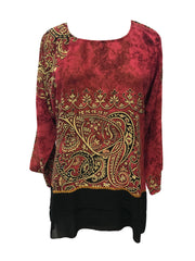 Pullover Silk Top with a Detachable Scarf