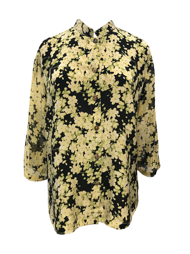 Wild Blossoms Classic Style Silk Blouse