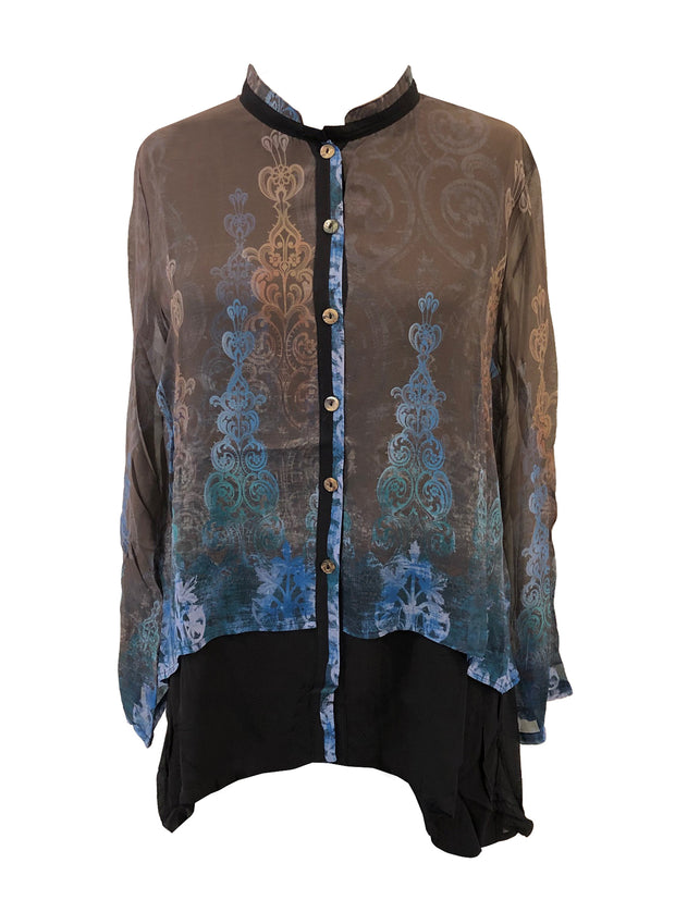 Mandarin Collar Silk Blouse