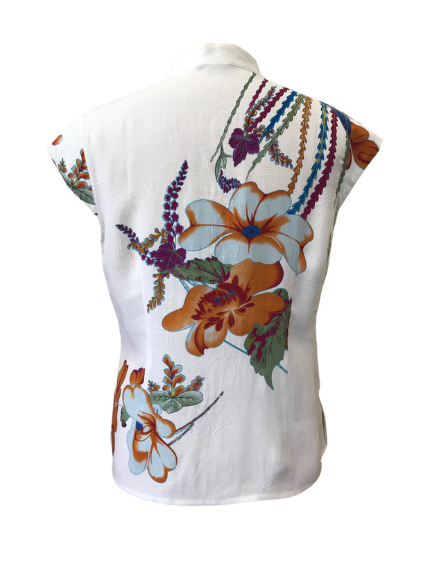 Capped Sleeve Silk Top