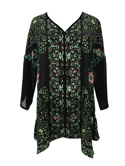 Trendy Pullover V-Neck Silk Tunic