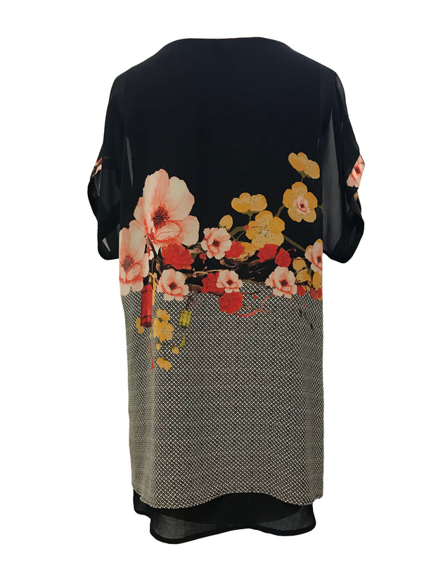 Double layered capped sleeve silk tunic