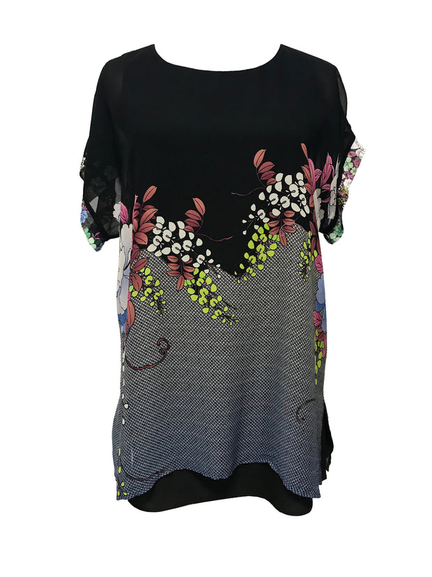 Double Layered Short Sleeve Silk Tunic - size 1X