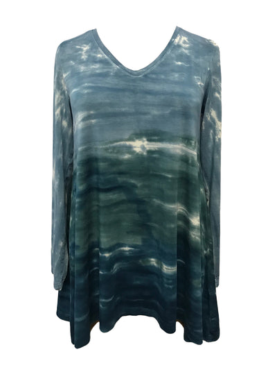 Tie Dyed Knit V-Neck Tunic