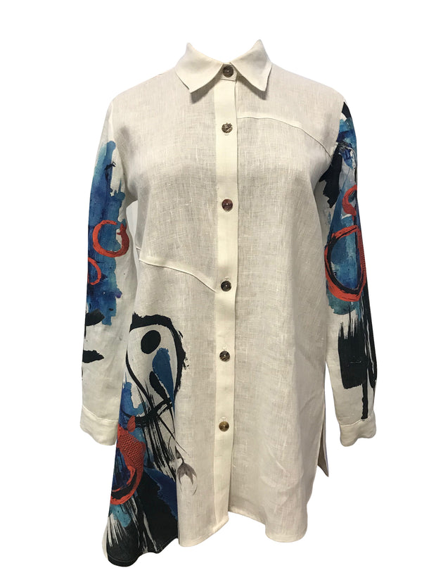 Koi fish abstract print Linen Roma shirt