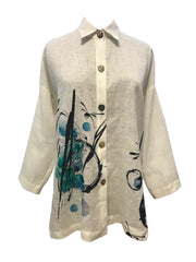 Dragonfly abstract print oversized Riviera Linen shirt