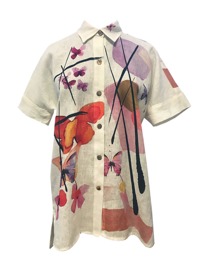 Butterfly Print Trendy Tunic - size M