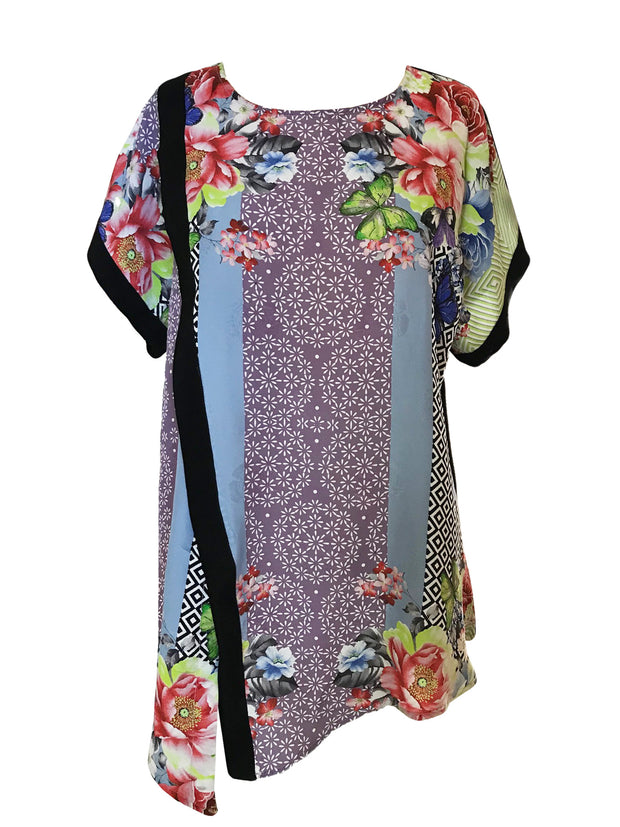 Crossover Short Sleeved Silk Blend Top