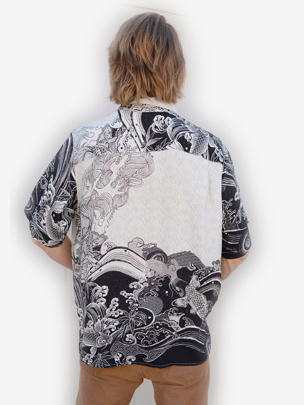 Koi Black White Men's Shirt