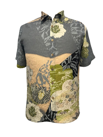 Mix Print Men's Shirt in Silk
