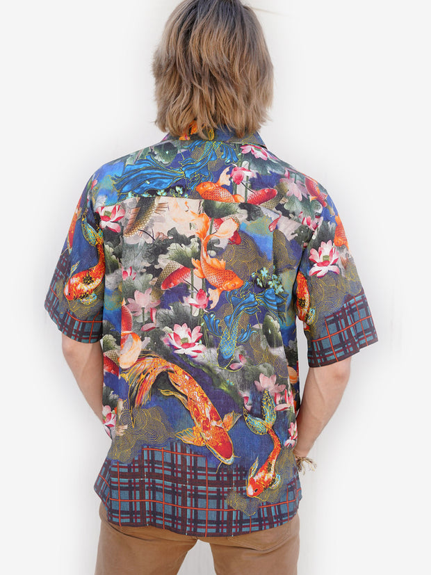 Water Koi Print Men's Shirt