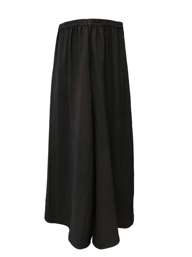 Wide Leg Ankle Length Black Pant