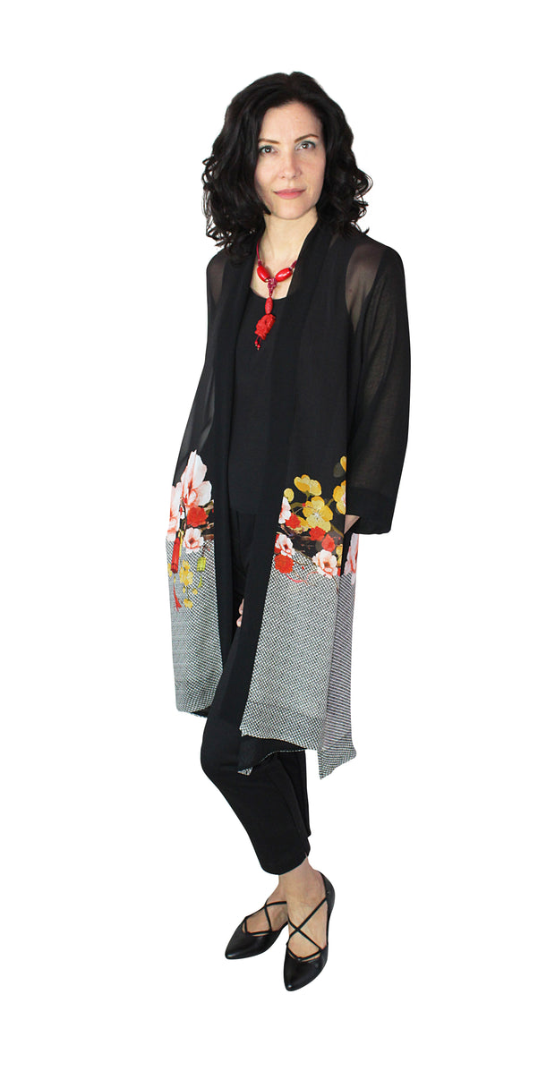 A-Lined long duster with side slits in 100% Silk Georgette
