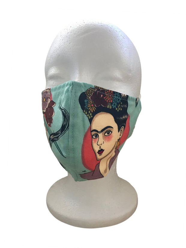 Citron Frida Khalo Print Cotton Mask