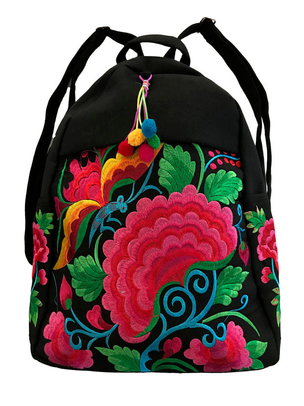 Floral Embroidered Large Canvas Backpack