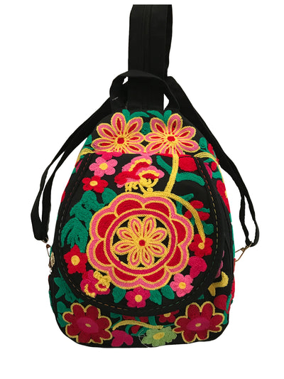 Floral Embroidered Small Canvas Backpack