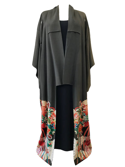 Vintage Kimono with Fan Print Outline.
