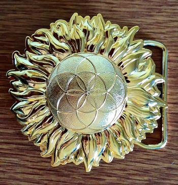 Sacred Geometry Belt Buckle Sunflower