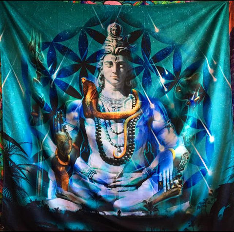 Shiva Reborn Large Tapestry Made By Enlighten Clothing Co Designed By Enlighten Artist Jameson Bonnd