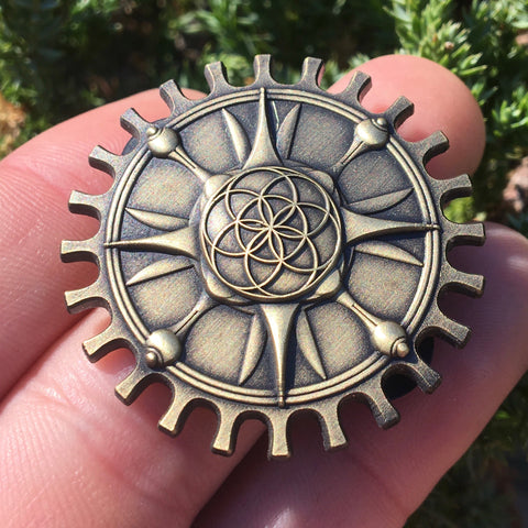Steampunk Seed Of Life Gear Pin Original Art By Rachel Blasi For Enlighten Clothing Co