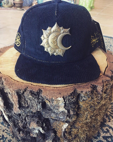 Chakras Black Corduroy Limited Edition Hat Made By Enlighten Clothing Co