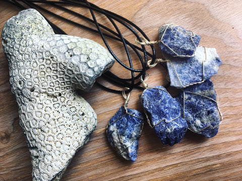 Sodalite Wire Wrap Pendant Made By Enlighten Clothing Co