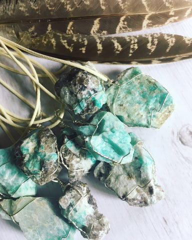 Amazonite Wire Wrap Crystal Pendant - Enlighten Clothing Co.