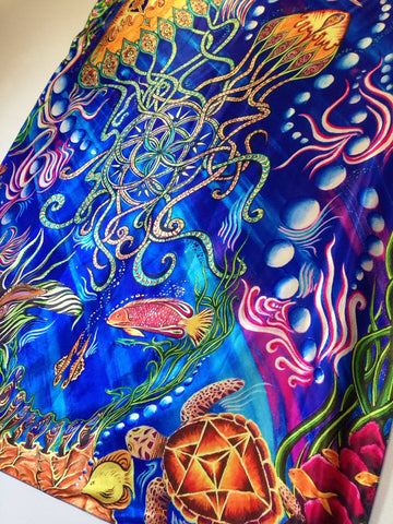 Jellyfishes Garden Tapestry. Painting By Melanie Bodnar Of Enlighten Clothing Co.