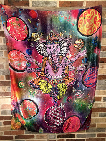 Ganesh Balance Tapestry Metaphysical Hindu Inspired Sacred Geometry Tapestry