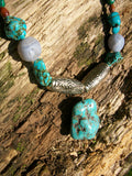Semi-Precious Matching Necklace & Earring's Set: Turqurenite, Fluorite, Malachite, Blue Lace Agate