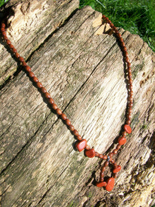 Semi-Precious Matching Necklace and Earring's Set: Red Jasper