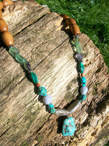 Handmade Semi-Precious Matching Necklace & Earring's Set: Turqurenite, Fluorite, Malachite, Blue Lace Agate