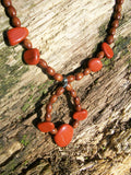 Handmade Semi-Precious Matching Necklace and Earring's Set: Red Jasper
