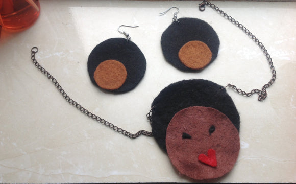 Handmade Felt 'Afro Chic' Necklace & Earrings Set