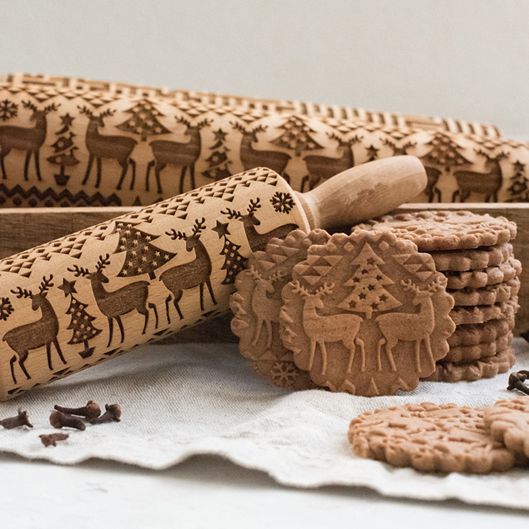 Christmas Wooden Embossing Rolling Pin